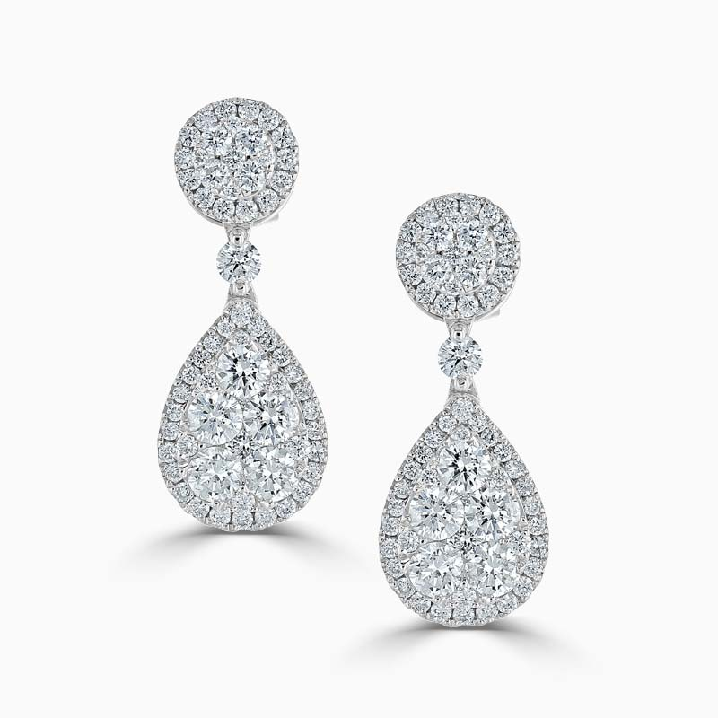 14ct White Gold Pear Cluster Diamond Drops