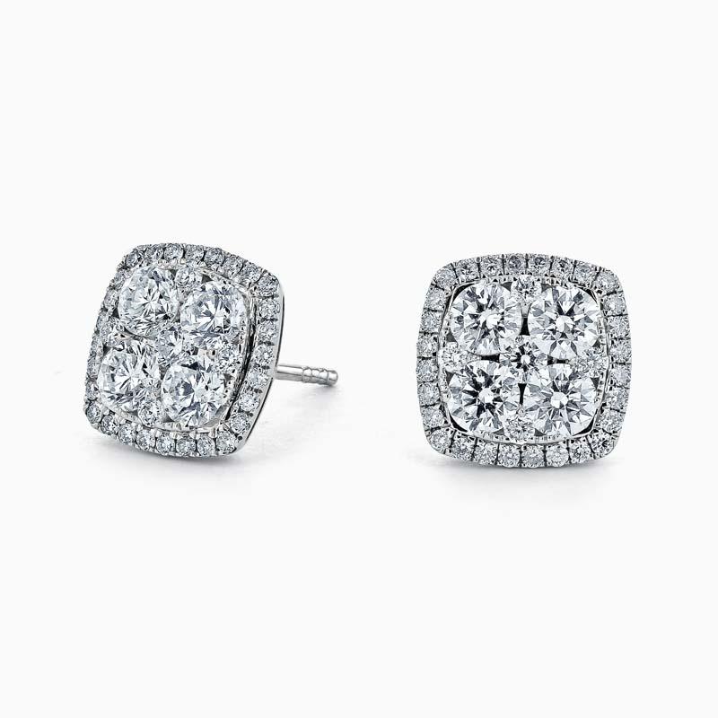 14ct White Gold Diamond Cluster & Halo Studs