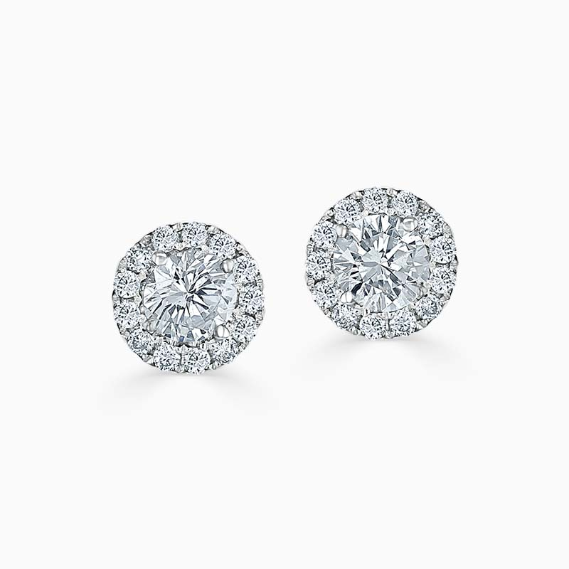 18ct White Gold Diamond Cutdown Halo's