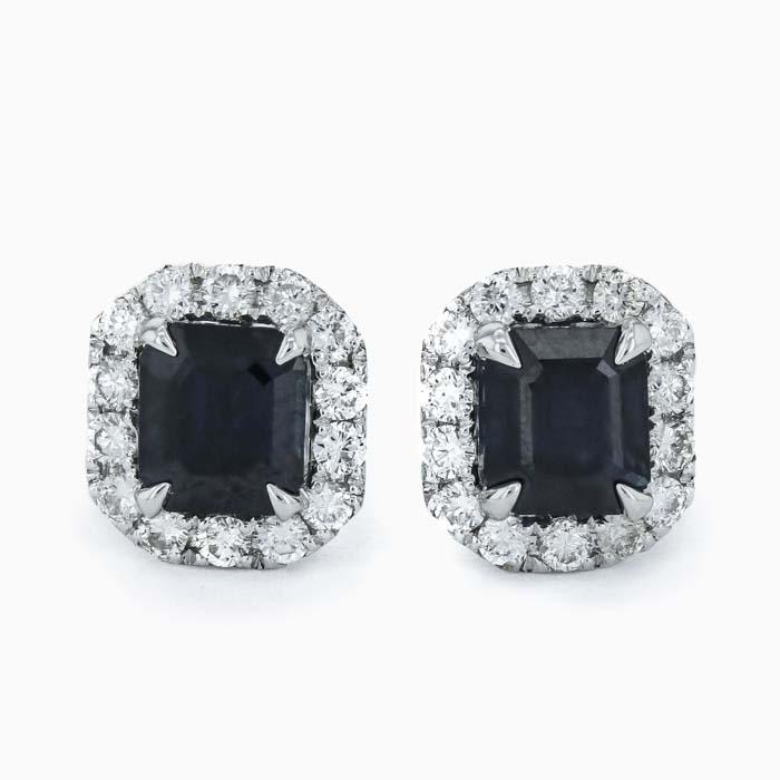 18ct White Gold Cushion Shape Sapphire and Diamond Halo Studs