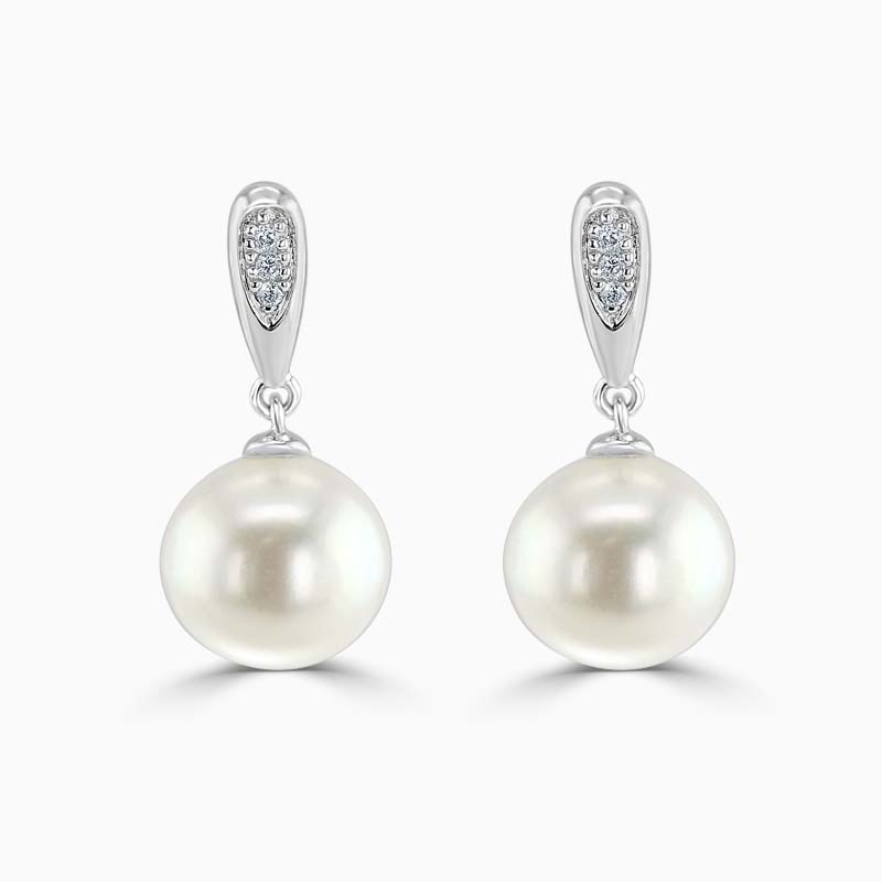 18ct White Gold Fresh Water Pearl and Diamond Drops