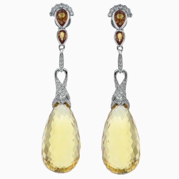 18ct White Gold Briolette Citrine & Diamond Set Drops