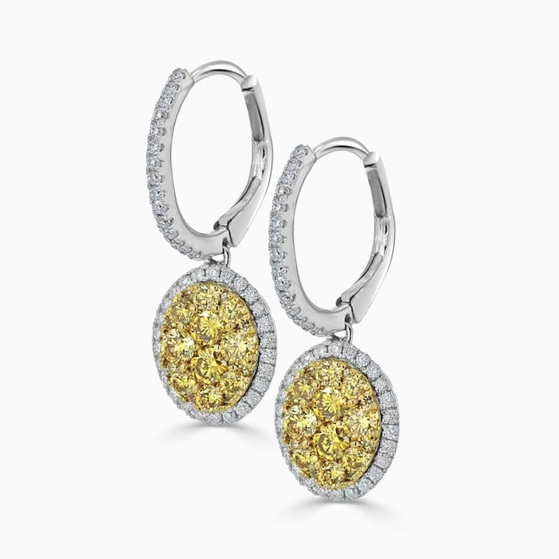 18ct White Gold Yellow Diamond Cluster Drop Earrings