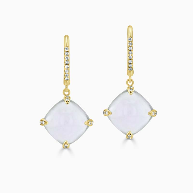 18ct Yellow Gold Chalcedony & Diamond Drops