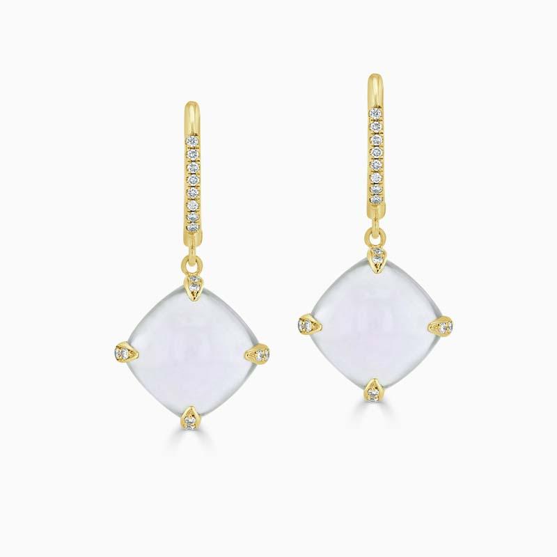 18ct Yellow Gold Chalcedony & Diamond Drops
