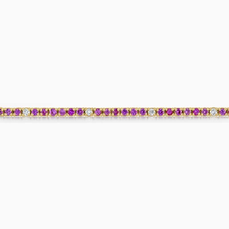 18ct White Gold Pink Sapphire & Diamond Bracelet