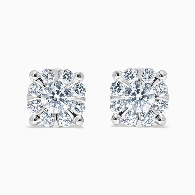 18ct White Gold Round Brilliant Cluster Set Studs