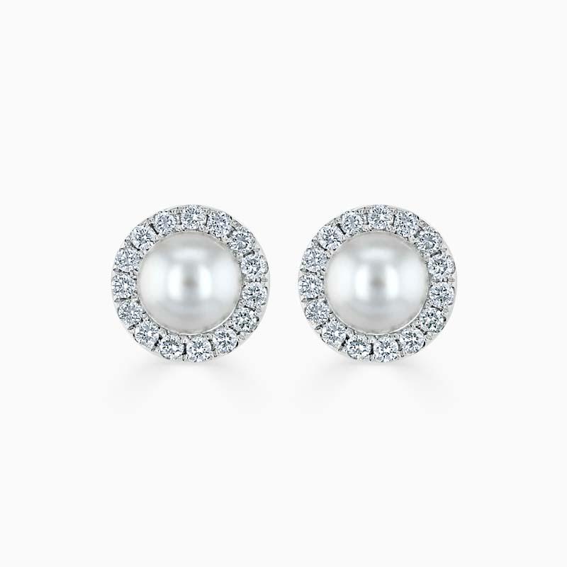 18ct White Gold Akoya Pearl & Diamond Halo Studs