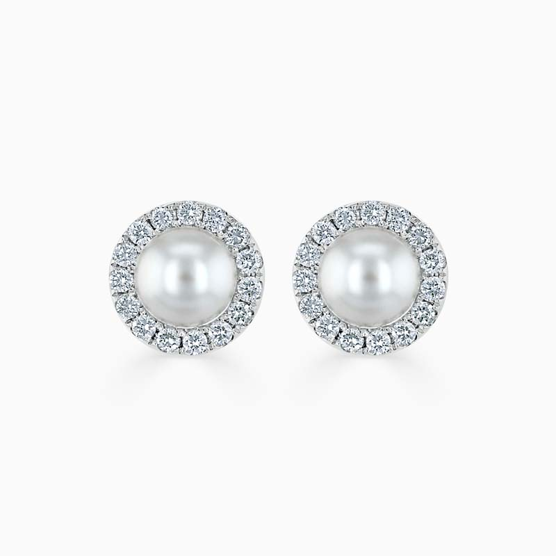 18ct White Gold Akoya Pearl & Diamond Halo Studs