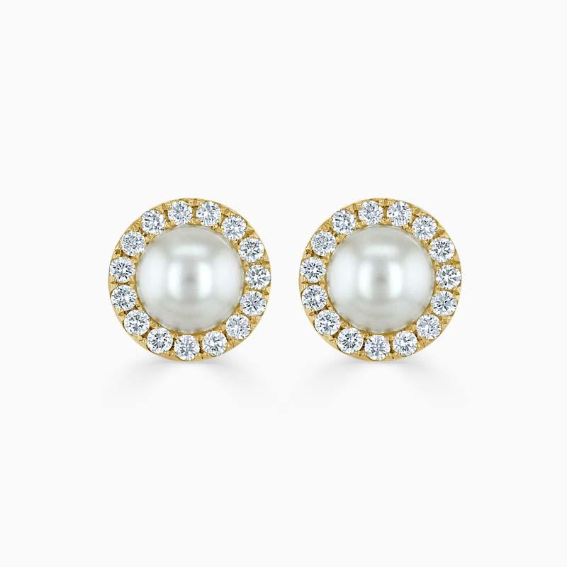 18ct Yellow Gold Akoya Pearl & Diamond Halo Studs