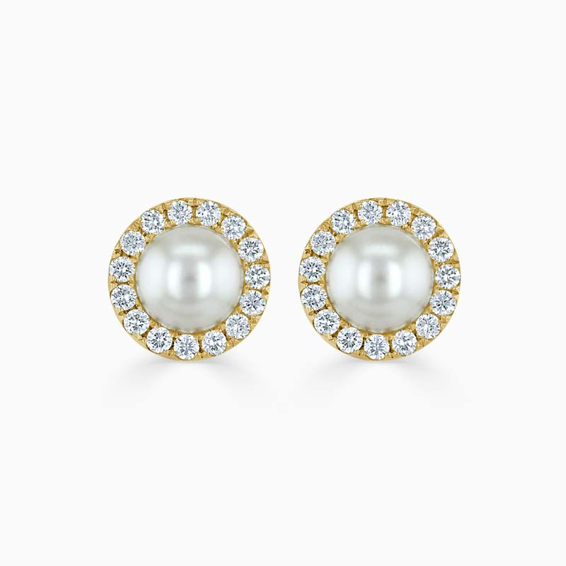18ct Yellow Gold Akoya Pearl & Diamond Halo Studs