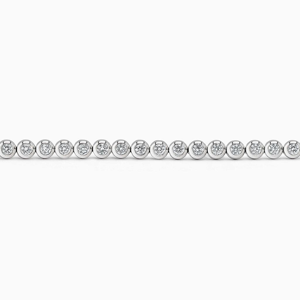 18ct White Gold Diamond Rubover Set Line Bracelet