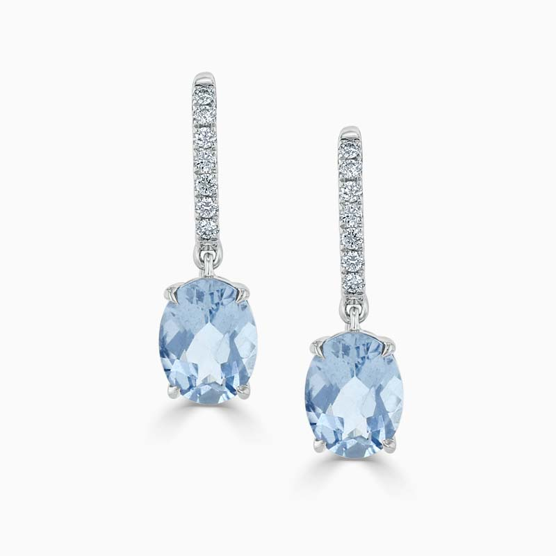 18ct White Gold Oval Aquamarine & diamond Drops