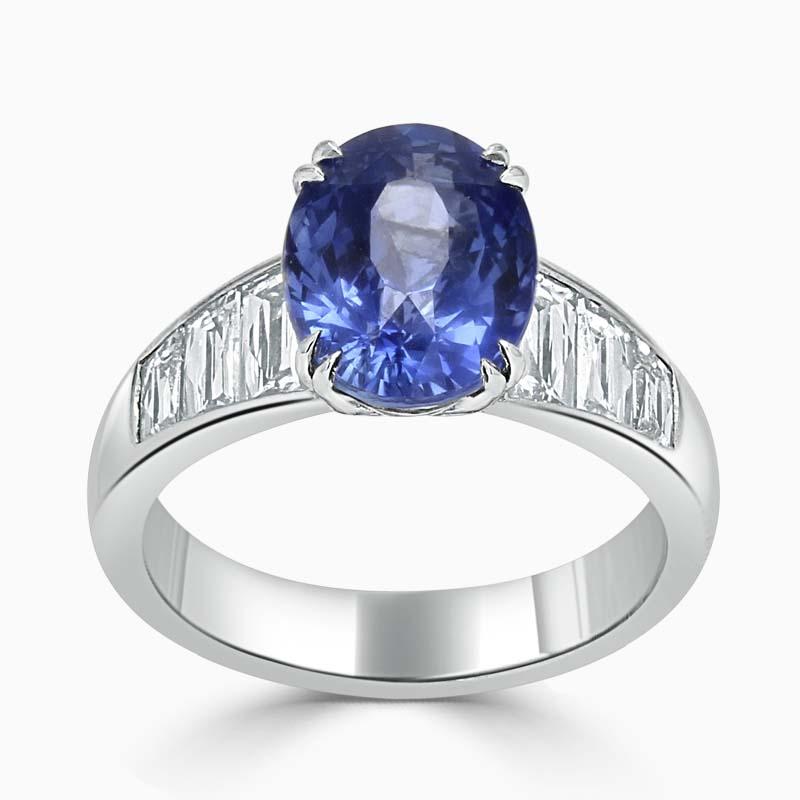 Platinum 950 Oval Noheat Blue Sapphire & Diamond Set Ring