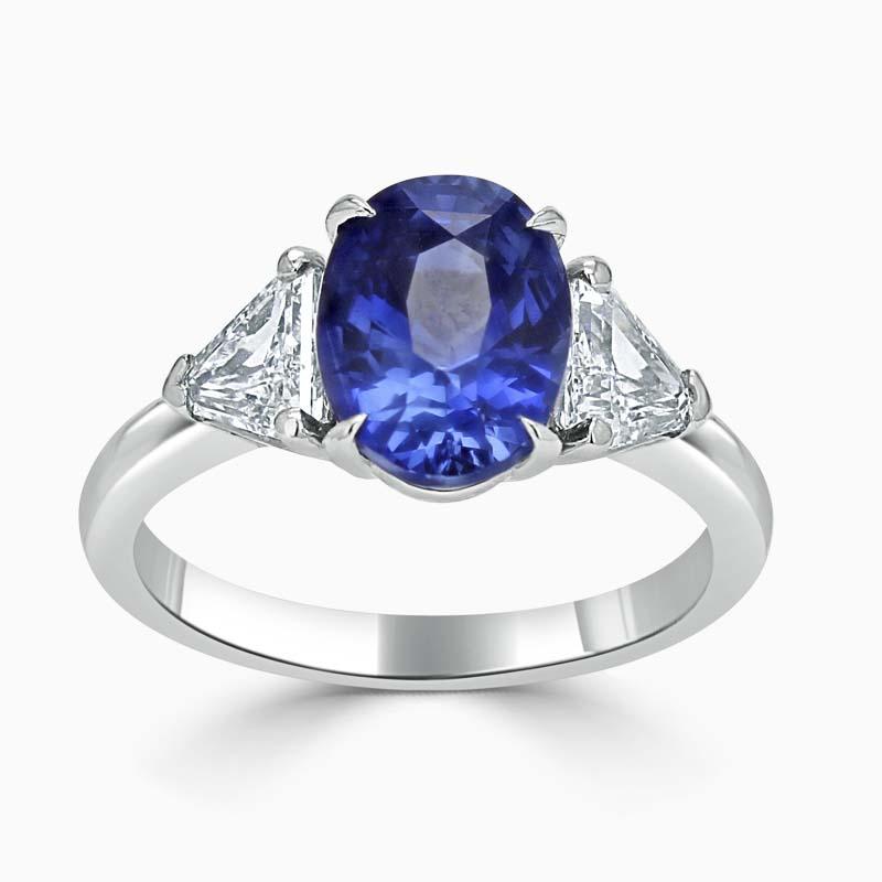 Platinum 950 Oval Sapphire & Diamond Ring - 3.36ct