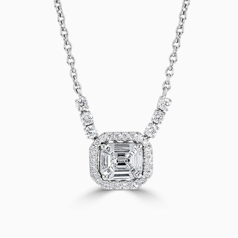 18ct White Gold Baguette and Emerald Cut Diamond Halo Pendant