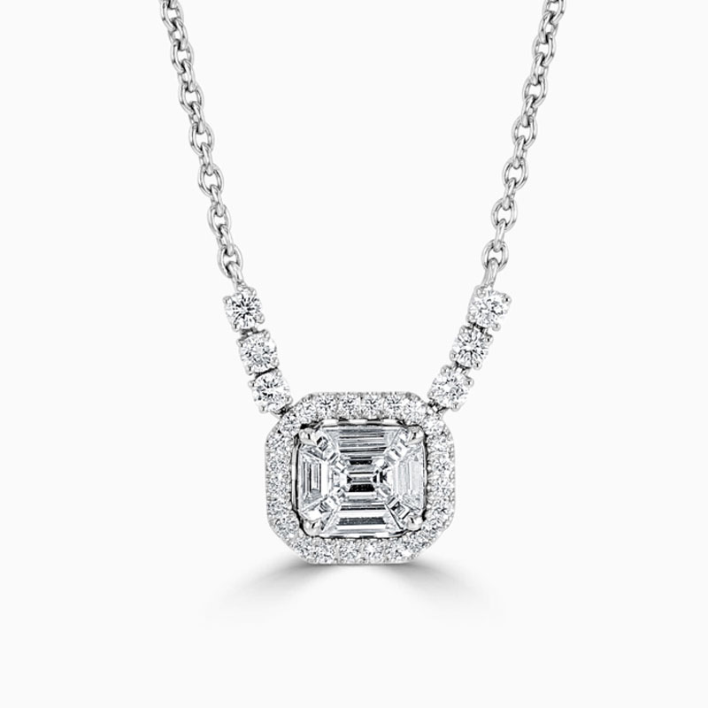 18ct White Gold Baguette and Emerald Cut Diamond Halo Pendant