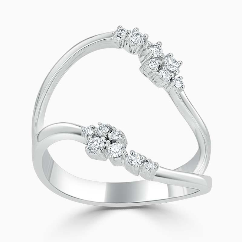 18ct White Gold Feather 2 Row Diamond Set Ring
