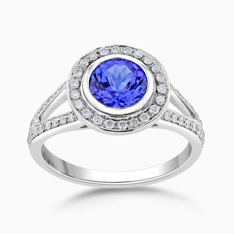 18ct White Gold Split Shoulder Pavé Set Diamond and Tanzanite Halo  Ring