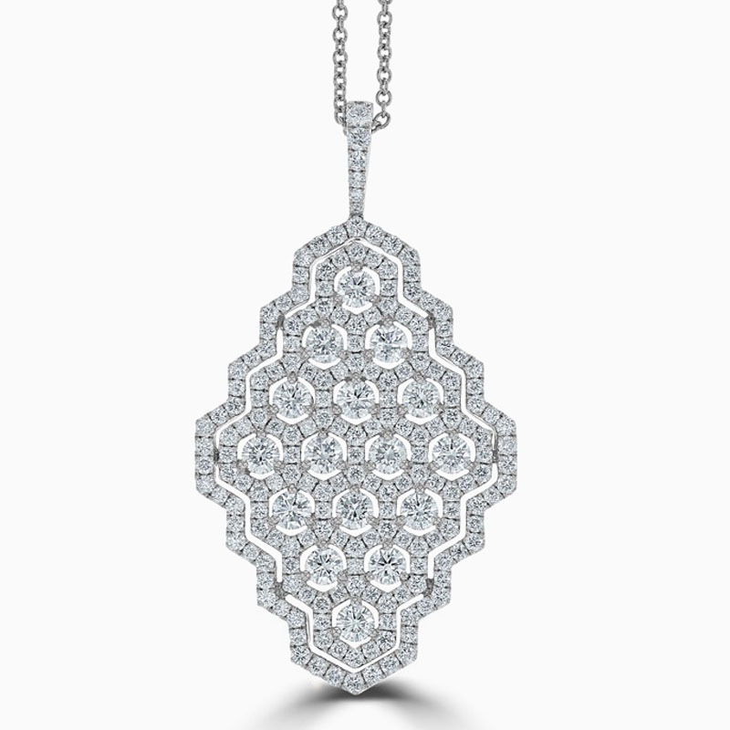 18ct White Gold Diamond Honeycomb Design Pendant