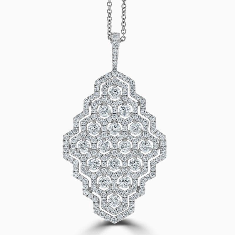 18ct White Gold Diamond Honeycomb Design Pendant
