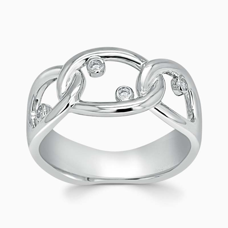 18ct White Gold Constellation Link Diamond Ring