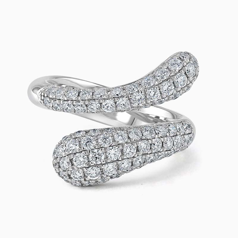 18ct White Gold Pavé Set Crossover Diamond Dress Ring