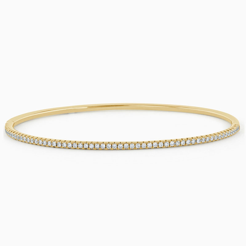 14ct Yellow Gold Round Brilliant Diamond Bangle