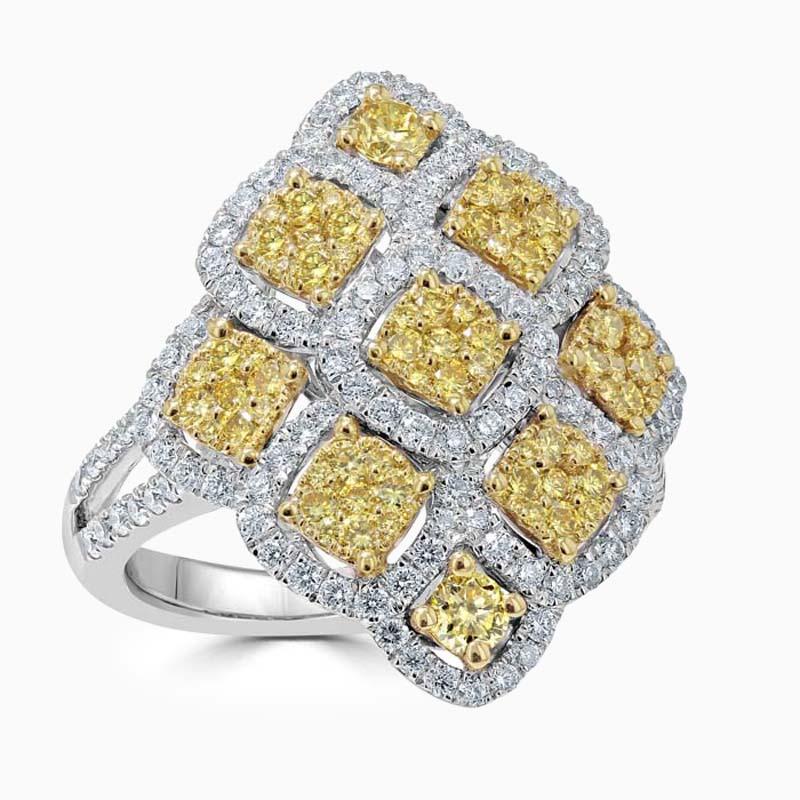 18ct White Gold Yellow Diamond Cluster Ring