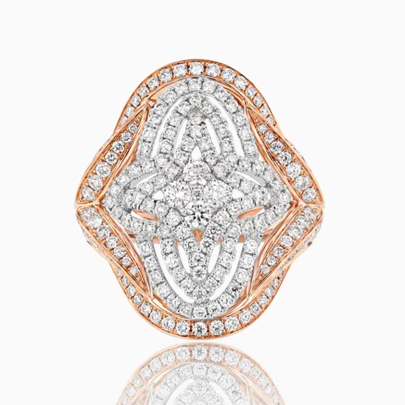 18ct Rose Gold Multi-Colour Geometric Diamond Ring
