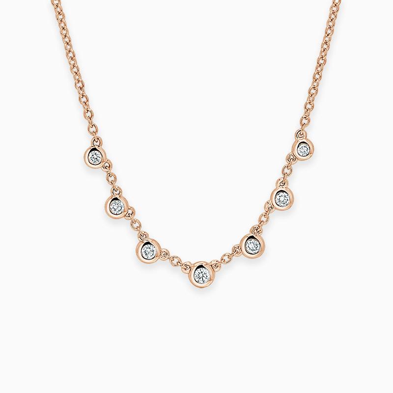 18ct Rose Gold Round Brilliant Seven Diamond Necklace
