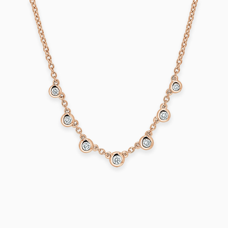 18ct Rose Gold Round Brilliant Seven Diamond Necklace