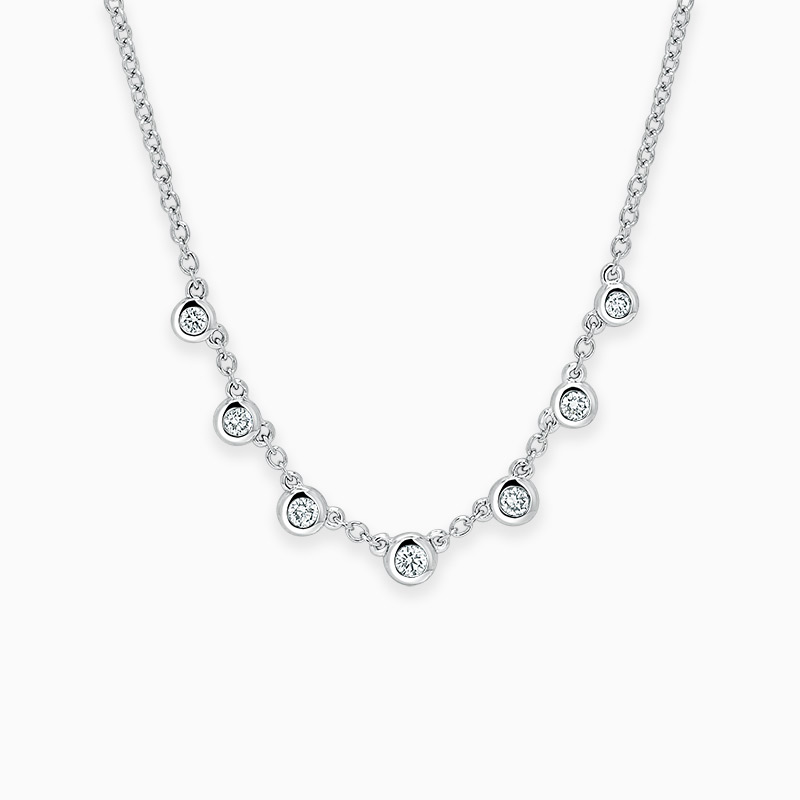 18ct White Gold Round Brilliant Seven Diamond Necklace