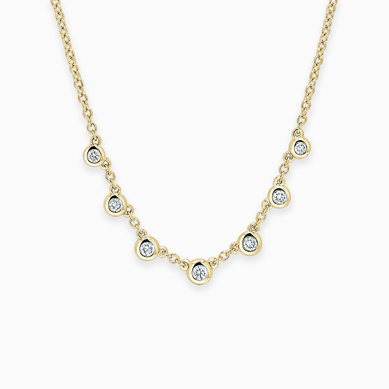 18ct Yellow Gold Round Brilliant Seven Diamond Necklace