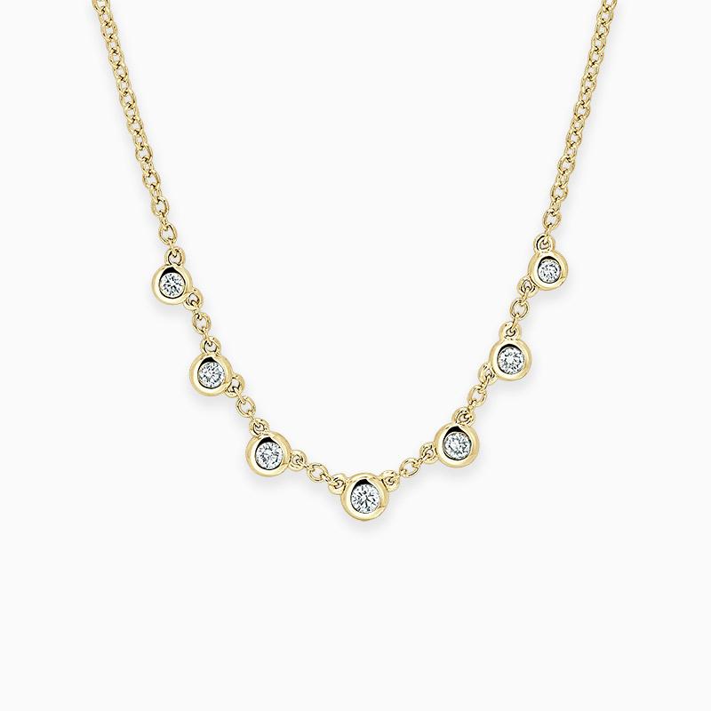 18ct Yellow Gold Round Brilliant Seven Diamond Necklace