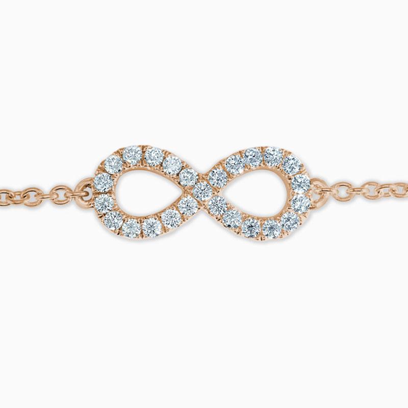 18ct Rose Gold Infinity Motif Charm Bracelet