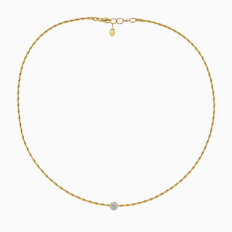 18ct Yellow Gold Florence Entwined Diamond Necklace