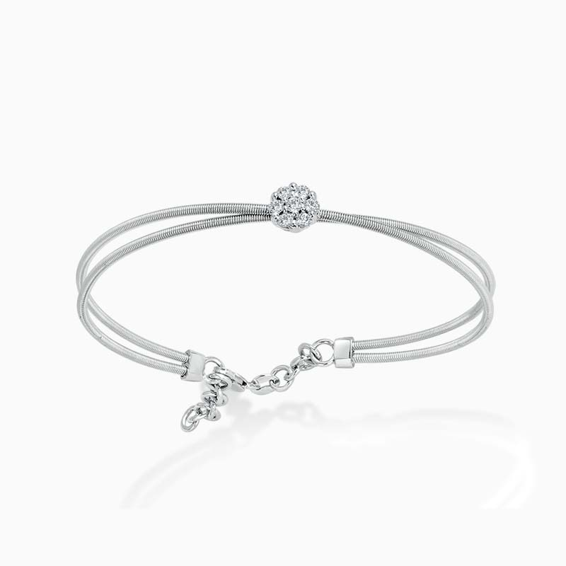 18ct White Gold Diamond Set Crossover Bangle