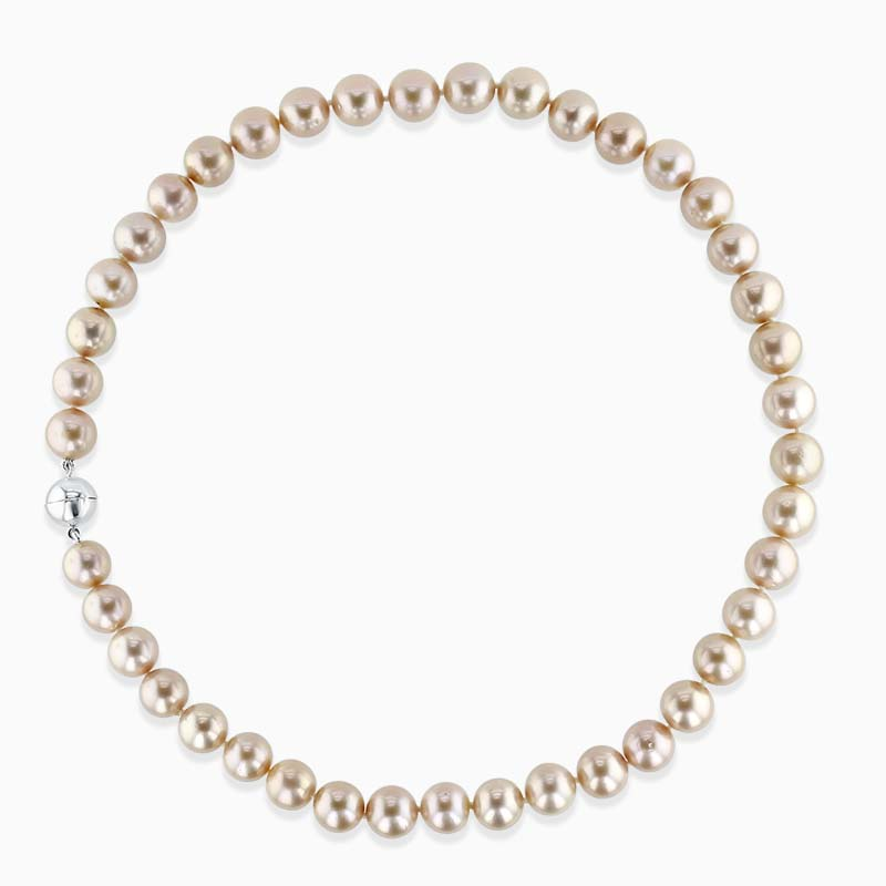 9ct White Gold Pink Freshwater Pearl Necklace