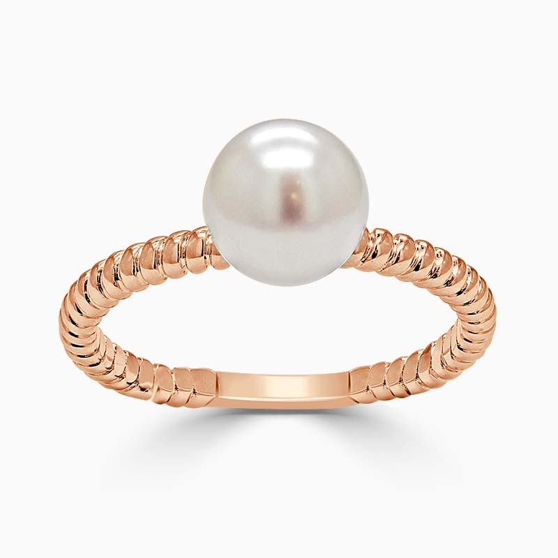 18ct Rose Gold Twisted Band Akoya Pearl Ring