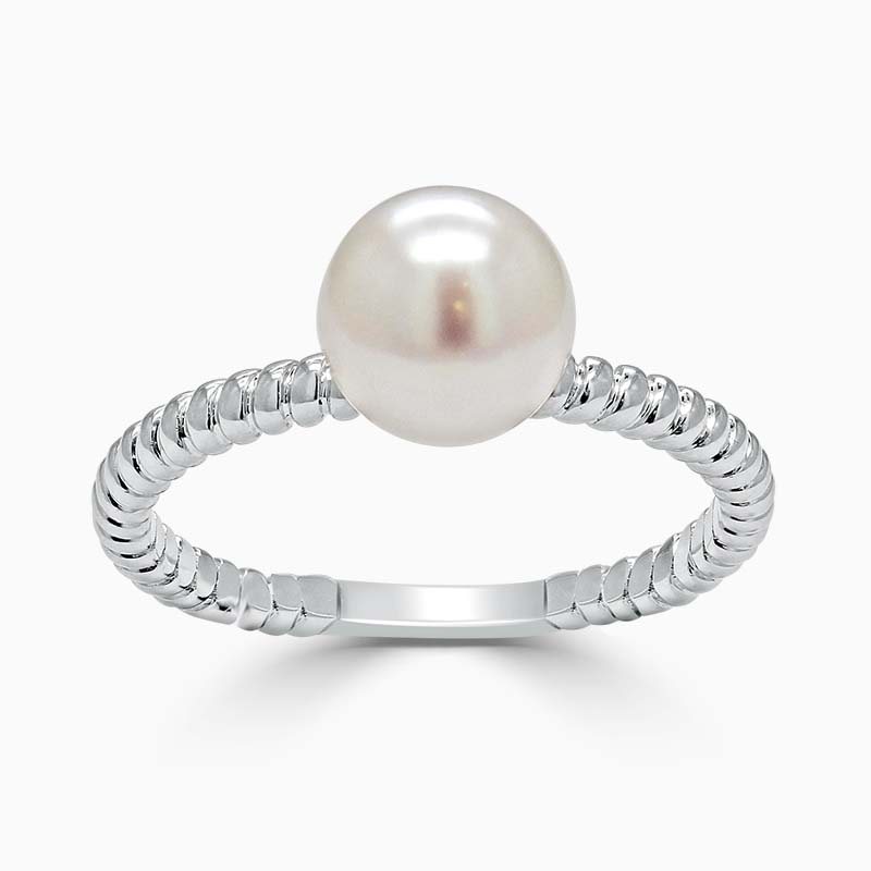 18ct White Gold Twisted Band Akoya Pearl Ring