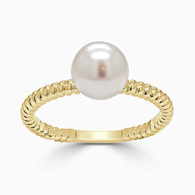 18ct Yellow Gold Twisted Band Akoya Pearl Ring