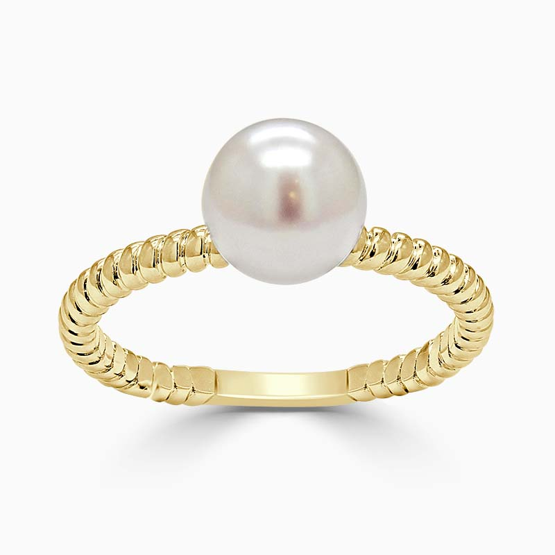 18ct Yellow Gold Twisted Band Akoya Pearl Ring