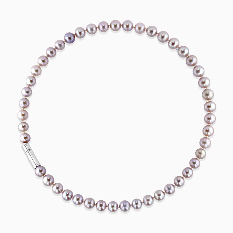 Pink Pearl Necklace with Silver Clasp