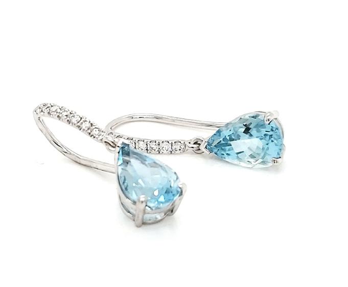 18ct White Gold Pear Shape Aquamarine & Diamond Drop Earrings