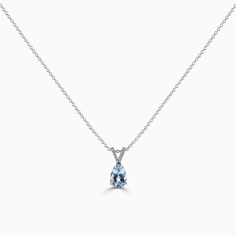 18ct White Gold Pear Shape Aquamarine & Diamond Pendant