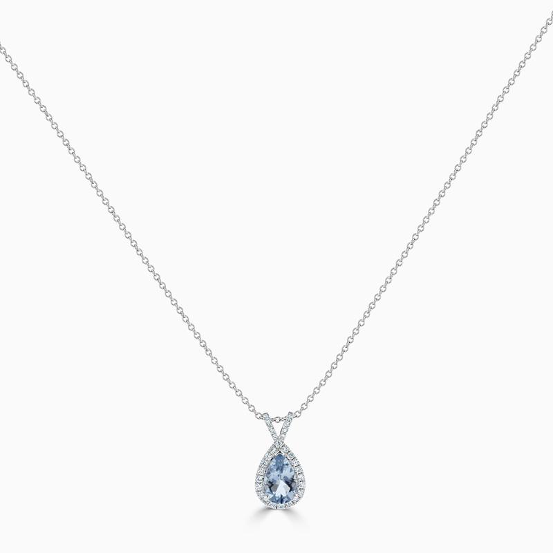 18ct White Gold Pear Shape Aquamarine & Diamond Halo Pendant