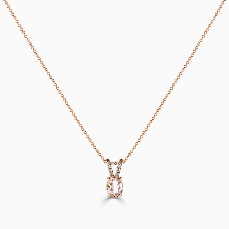18ct Rose Gold Oval Morganite & Diamond Pendant