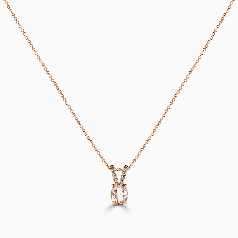 18ct Rose Gold Oval Morganite & Diamond Pendant