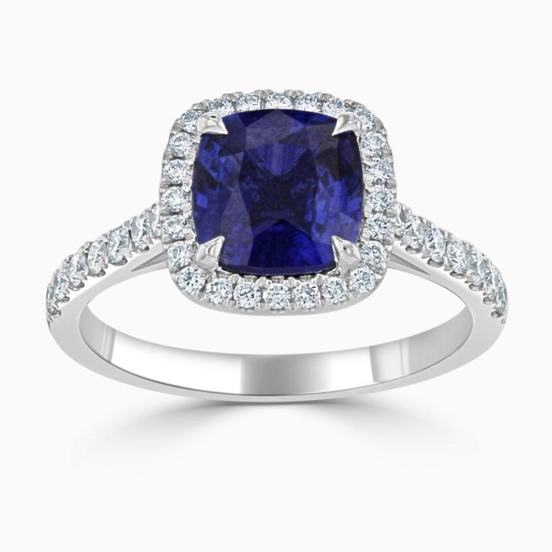 Platinum Royal Blue Cushion Cut Sapphire & Diamond Halo Ring